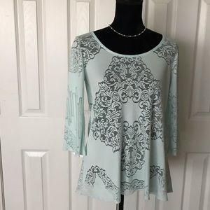 Stylish mint green lace long sleeved top